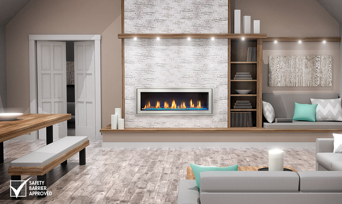 Gas Fireplace linear gas fireplace : Napoleon LV50 Linear Gas Fireplace Direct Vent Modern Black ...