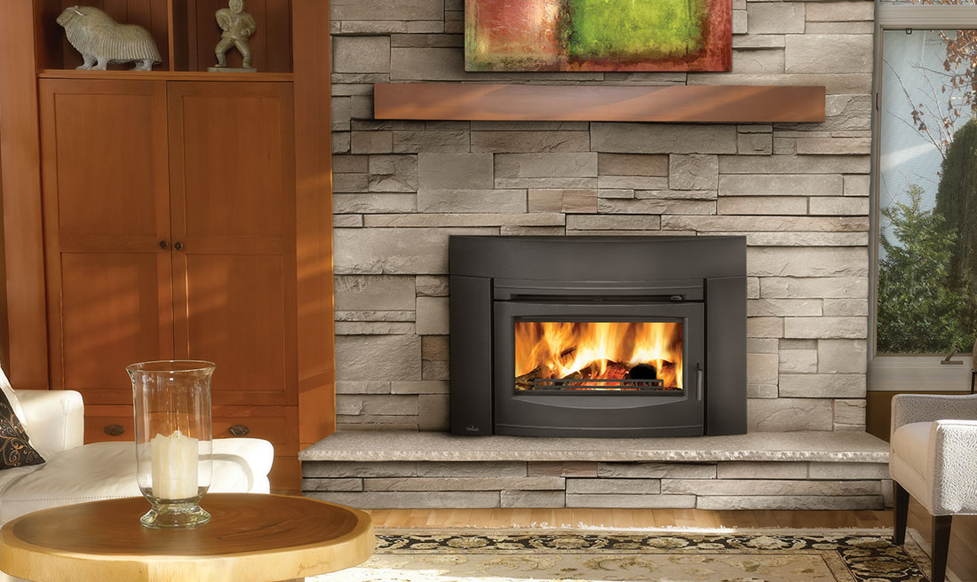 Napoleon's flush front wood burning insert is available with a cast iron modern contemporary front and cast iron surround.
