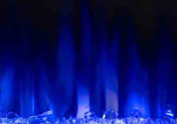 Flames set on blue