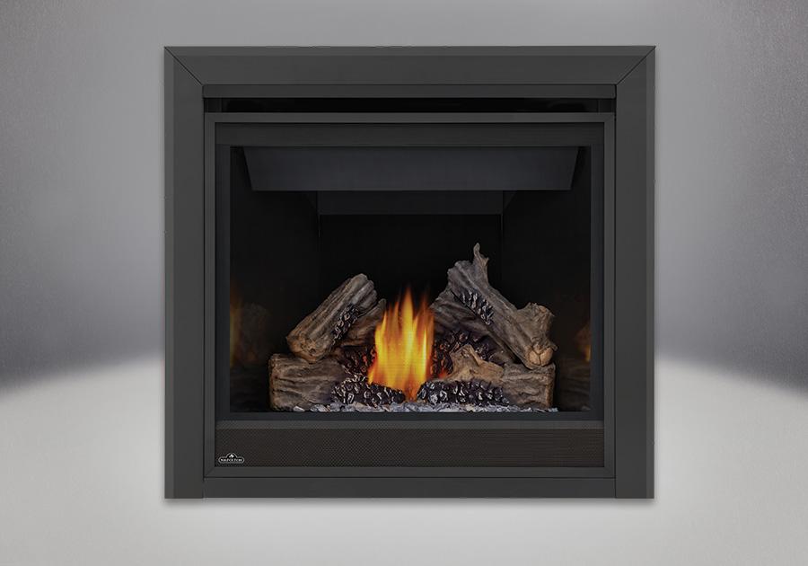 PHAZER<sup>&reg;</sup> Log Set, MIRRO-FLAME<sup>&trade;</sup> Porcelain Reflective Radiant Panels, Bevelled Trim