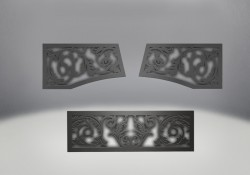 Ornamental Insets Painted Metallic Black