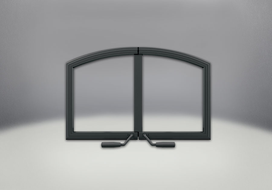 Arched Cast Iron Double Doors, Painted Black Finish
