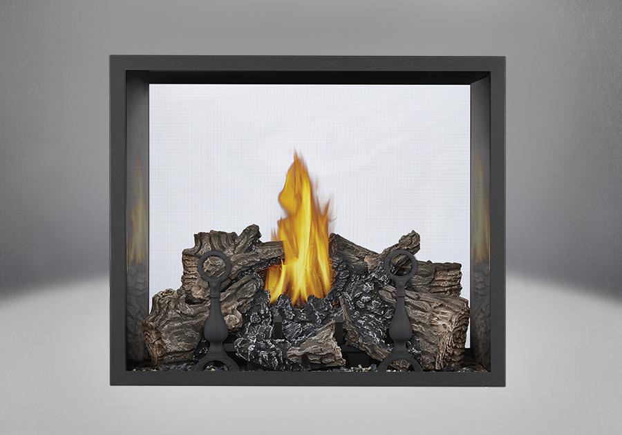 PHAZER Log Set Burner, Sandstone Brick Panels, Painted Black Trim Kit