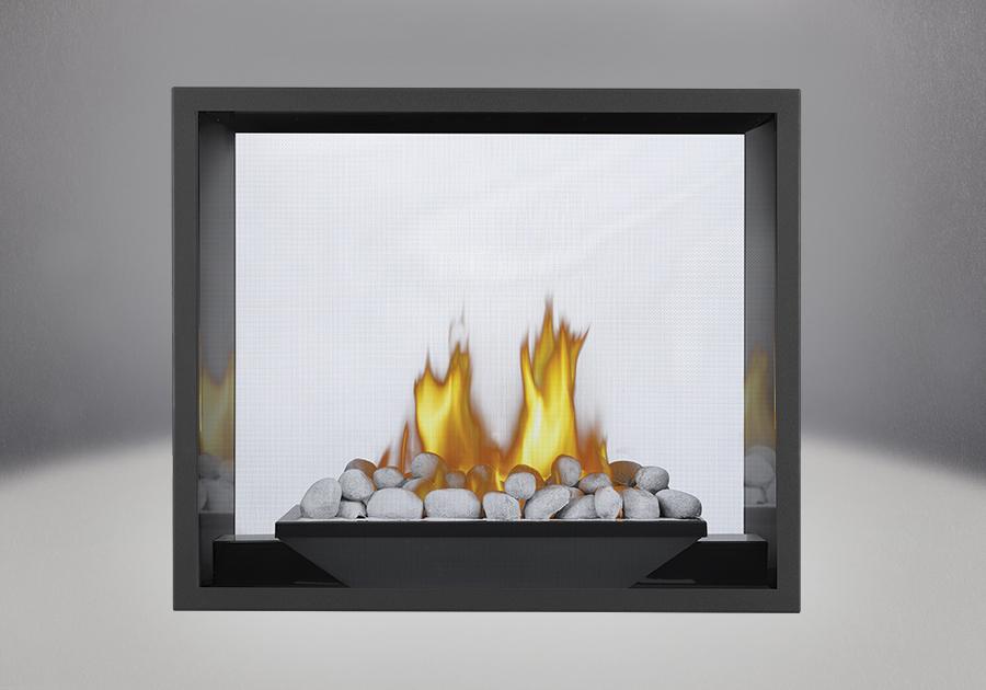 River Rock Media Burner, MIRRO-FLAME<sup>™</sup> Porcelain Reflective Radiant Panels, Painted Black Faceplate