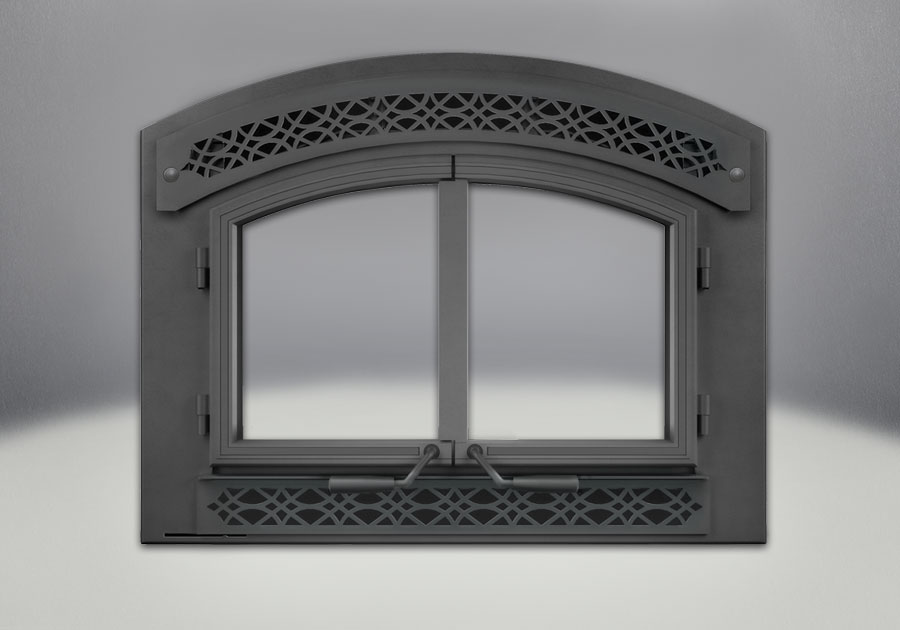 Complete Arched Cast Iron Double Doors, Arched Faceplate & Heritage Inset, Painted Black Finish