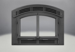 Complete Arched Cast Iron Double Doors, Arched Faceplate & Modern Inset, Painted Black Finish