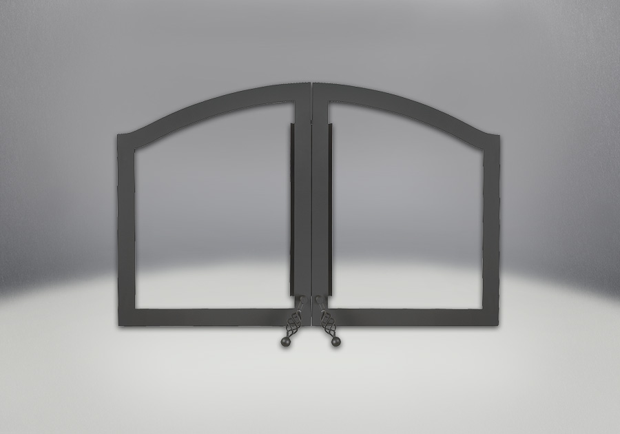 Arched Double Doors Painted Black