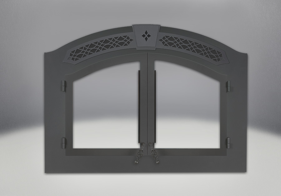 Shown complete with Arched Black Double Doors, Faceplate and Upper Grill