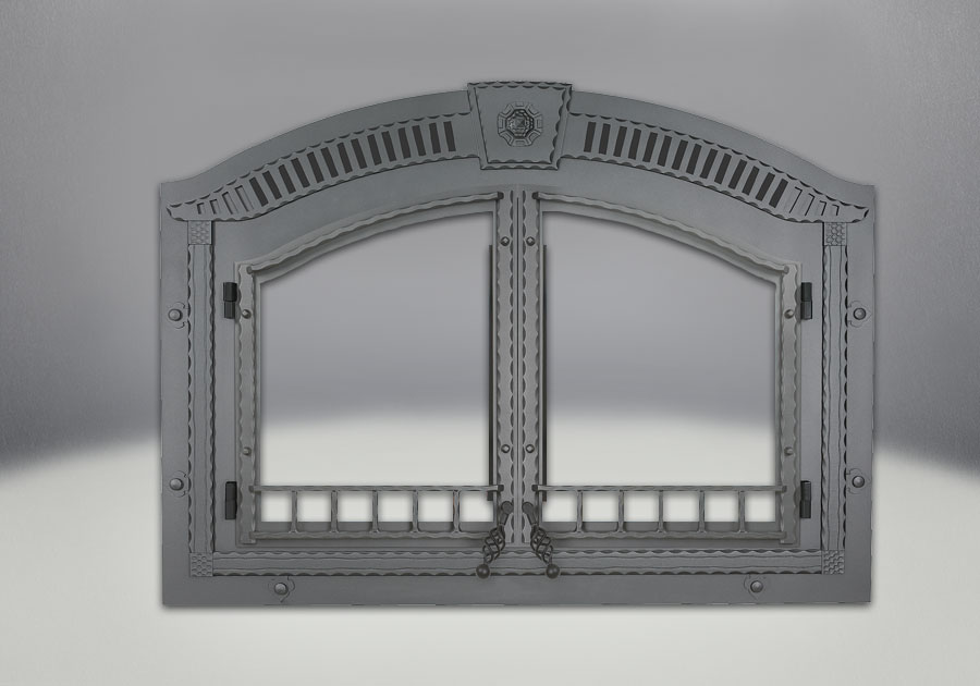 Comes complete with Arched Wrought Iron Double Doors, Faceplate, Upper Grill and Keystone