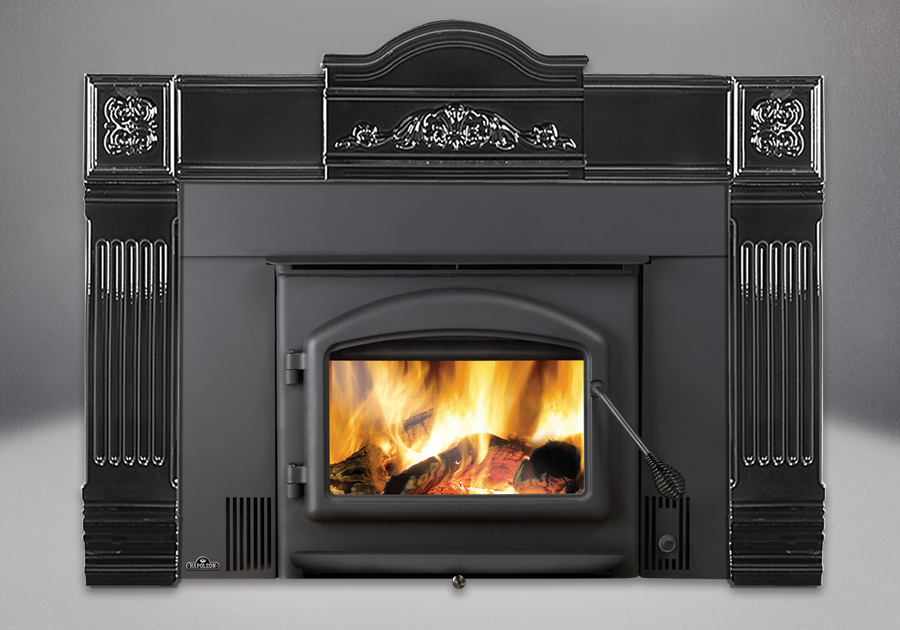 Cast Iron Surround in Black, Standard Flashing Complete with Black Trim, Arched Door in Black, Black Handles