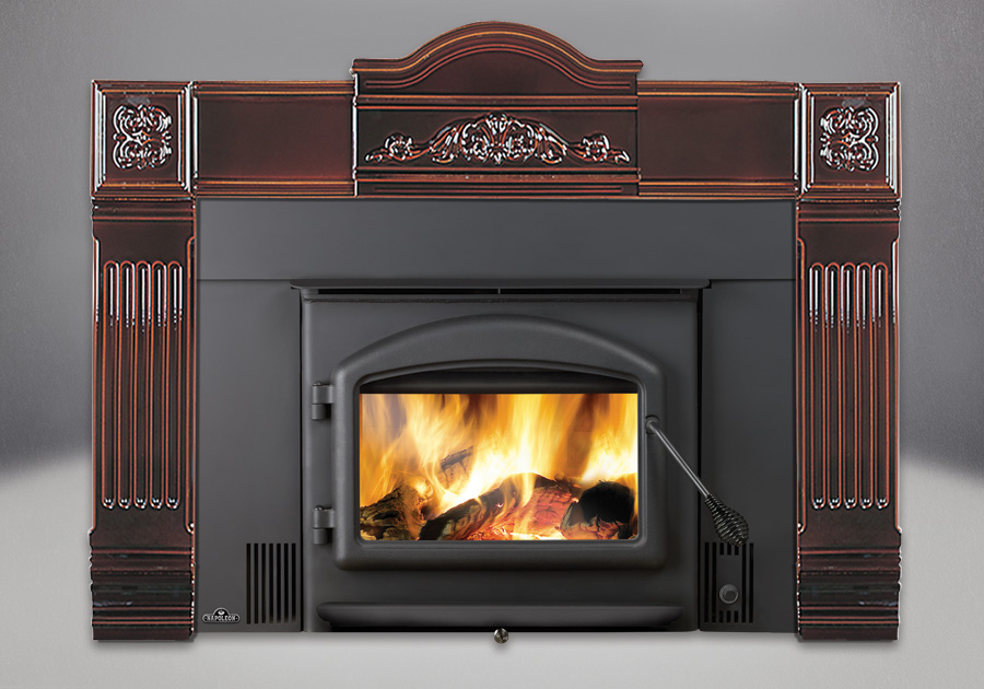 Cast Iron Surround in Majolica Brown, Standard Flashing Complete with Black Trim,  Arched Door in Black, Black Handles