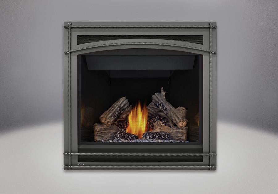 PHAZER<sup>®</sup> Log Set, Wrought Iron Front, MIRRO-FLAME<sup>™</sup> Porcelain Reflective Radiant Panels