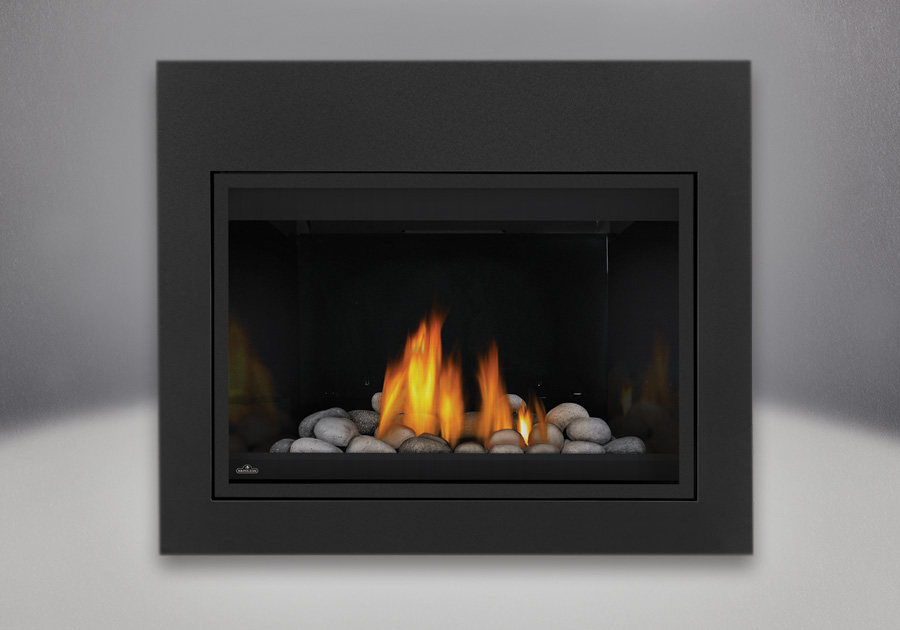 MIRRO-FLAME<sup>™</sup> Porcelain Reflective Radiant Panels, Grey Finish River Rock Media Kit, Standard Safety Screen