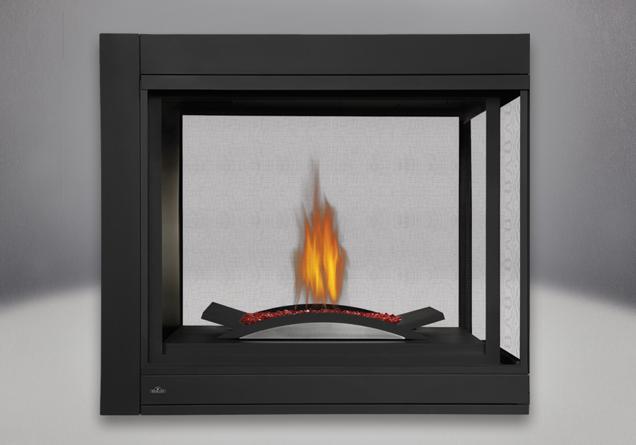 Three-Sided Peninsula Model, MIRRO-FLAME<sup>™</sup> Porcelain Reflective Radiant Panels, Fire Cradle With Red Glass