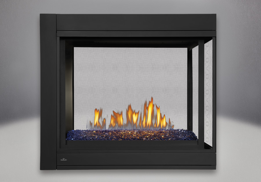 Three-Sided Peninsula Model, MIRRO-FLAME<sup>™</sup> Porcelain Reflective Radiant Panels, Linear Glass Burner With Blue Glass