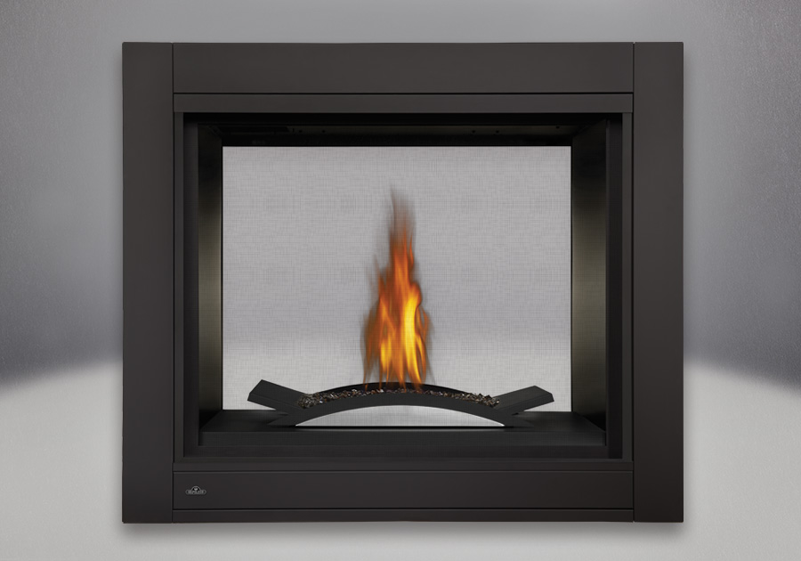 See-Thru Model, MIRRO-FLAME<sup>™</sup> Porcelain Reflective Radiant Panels, Fire Cradle With Topaz Glass