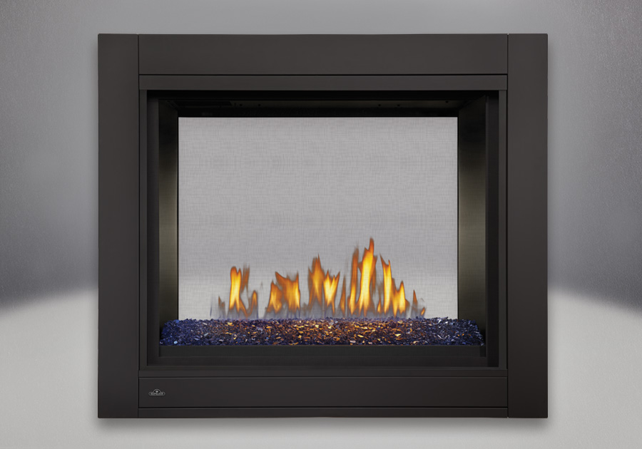 See-Thru Model, MIRRO-FLAME<sup>™</sup> Porcelain Reflective Radiant Panels, Linear Glass Burner With Blue Glass