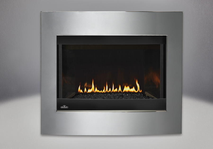 Convex Diamond Dust Surround, MIRRO-FLAME<sup>™</sup> Porcelain Reflective Radiant Panels, Glass Media Kit – Black