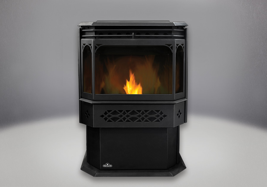 MIRRO-FLAME<sup>™</sup> Porcelain Reflective Radiant Panels, Black Door and Trivet