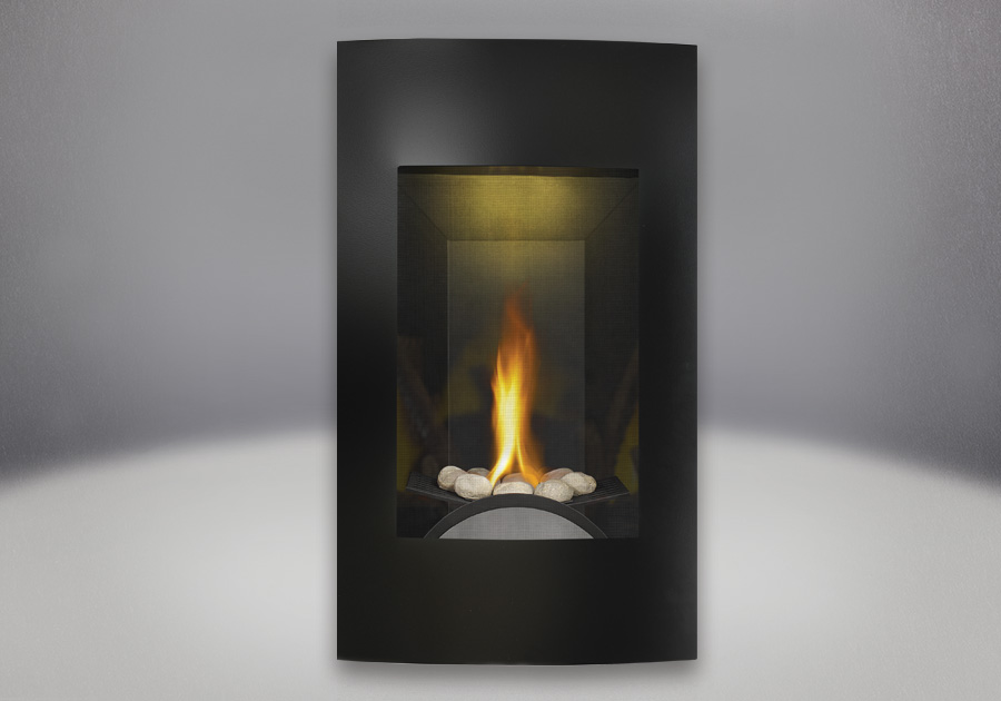 River rock Burner Assembly, Contemporary Facing Kit Brushed Painted Black Finish, MIRRO-FLAME<sup>™</sup> Porcelain Reflective Radiant Panels, NIGHT LIGHT<sup>™</sup>