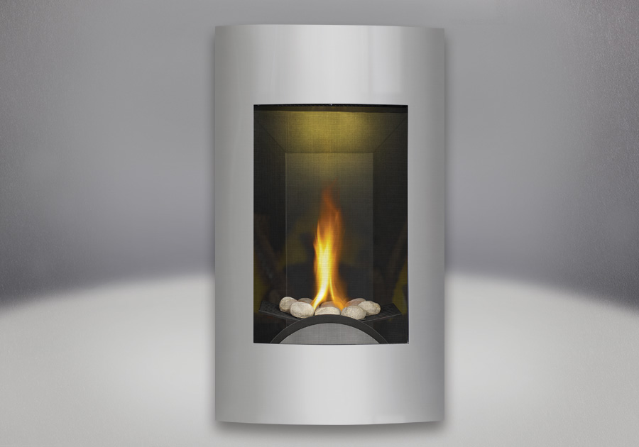 River rock Burner Assembly, Contemporary Facing Kit Brushed Stainless Steel, MIRRO-FLAME<sup>™</sup> Porcelain Reflective Radiant Panels, NIGHT LIGHT<sup>™</sup>