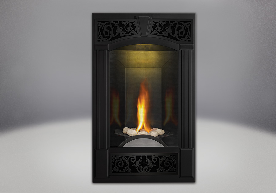 PHAZER<sup>®</sup> Log Set, Traditional Facing Kit Painted Metallic Black, MIRRO-FLAME<sup>™</sup> Porcelain Reflective Radiant Panels, NIGHT LIGHT<sup>™</sup>