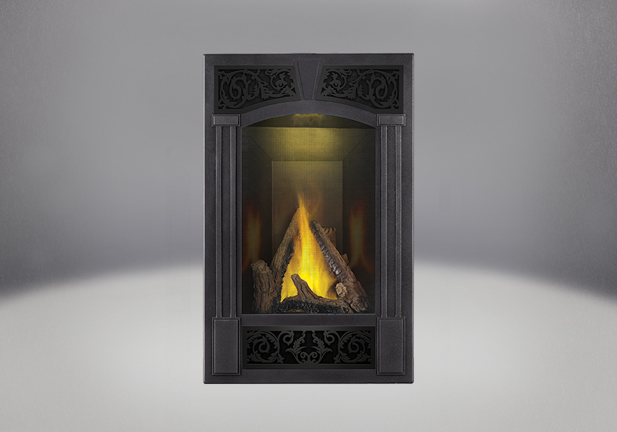 PHAZER<sup>®</sup> Log Set, Traditional Facing Kit Pewter Finish, MIRRO-FLAME<sup>™</sup> Porcelain Reflective Radiant Panels, NIGHT LIGHT<sup>™</sup>