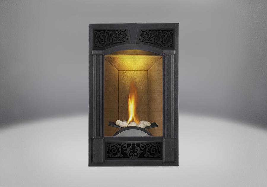 PHAZER<sup>®</sup> Log Set, Traditional Facing Kit Pewter Finish, Sandstone Brick Panels, NIGHT LIGHT<sup>™</sup>