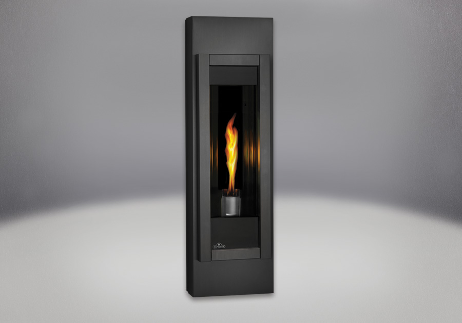 MIRRO-FLAME<sup>™</sup> Porcelain Reflective Radiant Panels, Black Adjustable Mounting Cabinet, Painted Metallic Black Front