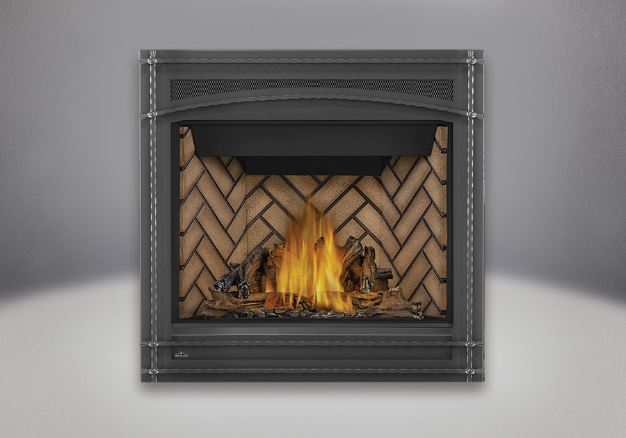 PHAZER<sup>®</sup> Log Set, Herringbone Decorative Brick Panels, Wrought Iron Front