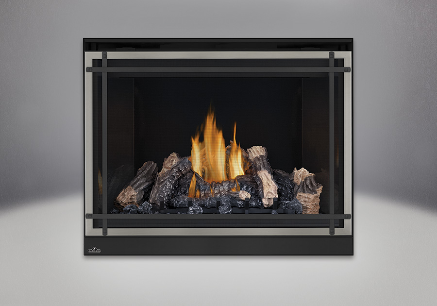 PHAZER<sup>™</sup> Log Set, MIRRO-FLAME<sup>™</sup> Porcelain Reflective Radiant Panels, Classic Resolution Front with Overlay in Brushed Nickel, with Black Straight Accent Bars, Standard Safety Screen