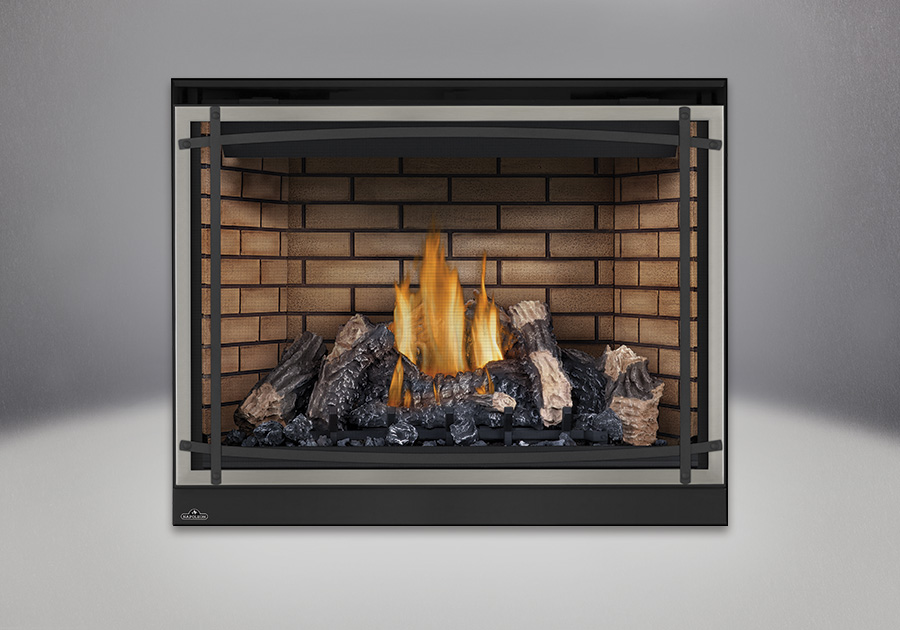 PHAZER<sup>™</sup> Log Set, Decorative Sandstone Brick Panels, Classic Resolution Front with Overlay in Brushed Nickel, with Black Curved Accent Bars, Standard Safety Screen