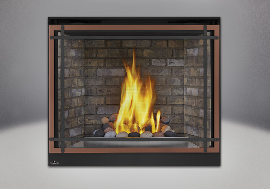Multi-Colored Finish River Rock Media, Decorative Newport<sup>™</sup> Brick Panels, Satin Chrome Decorative Fender, Classic Resolution Front with Overlay in Brushed Copper, with Black Straight Accent Bars, Standard Safety Screen