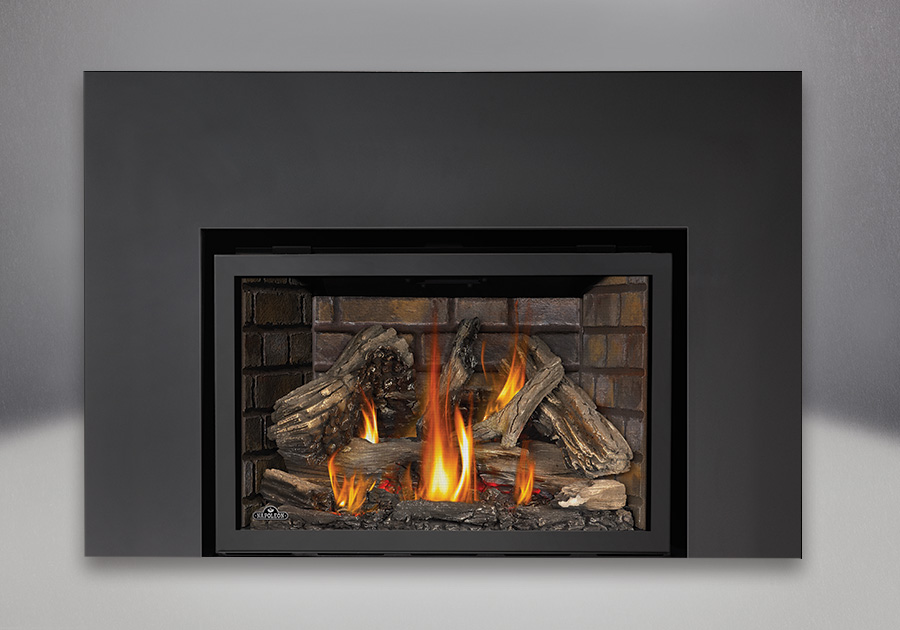 Infrared Fireplace Insert Part - 26: 9 Inch One Piece Surround, Newport™ Deluxe Brick Panels And IRONWOOD™ Log  Set, Standard Safety Screen