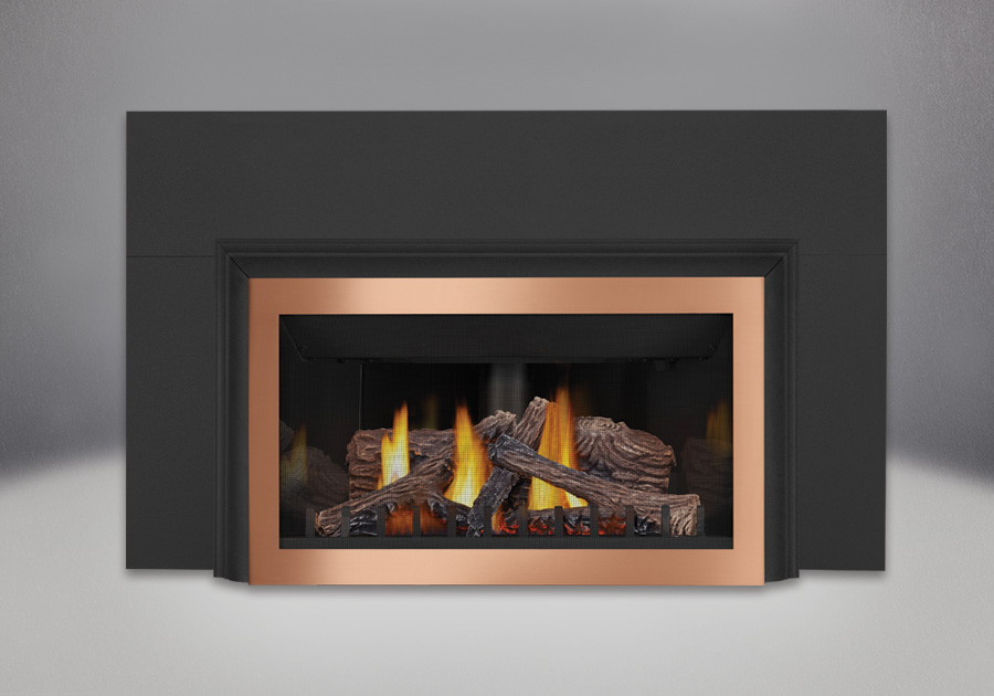 PHAZER<sup>®</sup> Logs, MIRRO-FLAME<sup>™</sup> Porcelain Reflective Radiant Panels, Brushed Copper Faceplate, Three Sided Aluminum Extrusion Kit, Three Sided Bakerplate