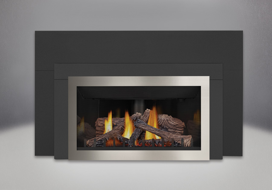 PHAZER<sup>®</sup> Logs, MIRRO-FLAME<sup>™</sup> Porcelain Reflective Radiant Panels, Brushed Nickel Faceplate, Contemporary Trim Kit , Three Sided Bakerplate