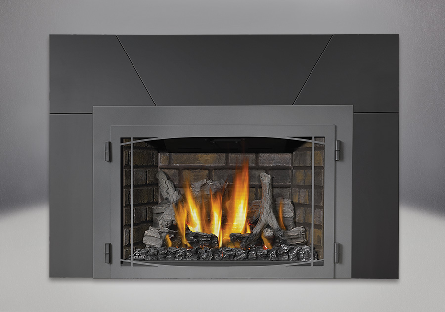 Infrared Fireplace Insert Part - 34: IRONWOOD™ Log Set, Newport™ Deluxe Brick Panels, Zen Modern Door In Wrought  Iron Finish, Five Piece Surround Painted Black Finish 9u2033