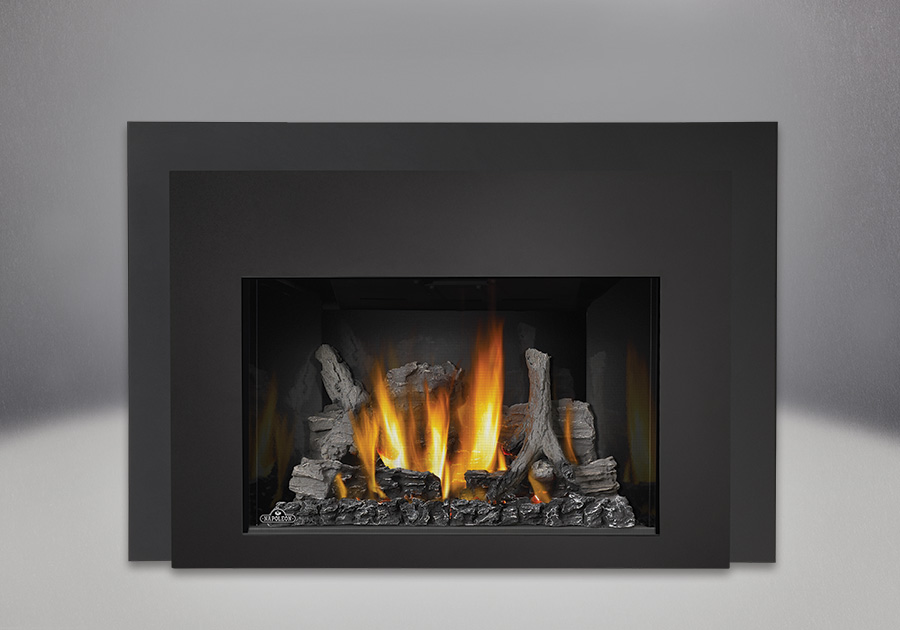 IRONWOOD<sup>™</sup> Log Set, MIRRO-FLAME<sup>™</sup> Porcelain Reflective Radiant Panels, Contemporary Front in Black, One Piece Surround Painted Black Finish 6″