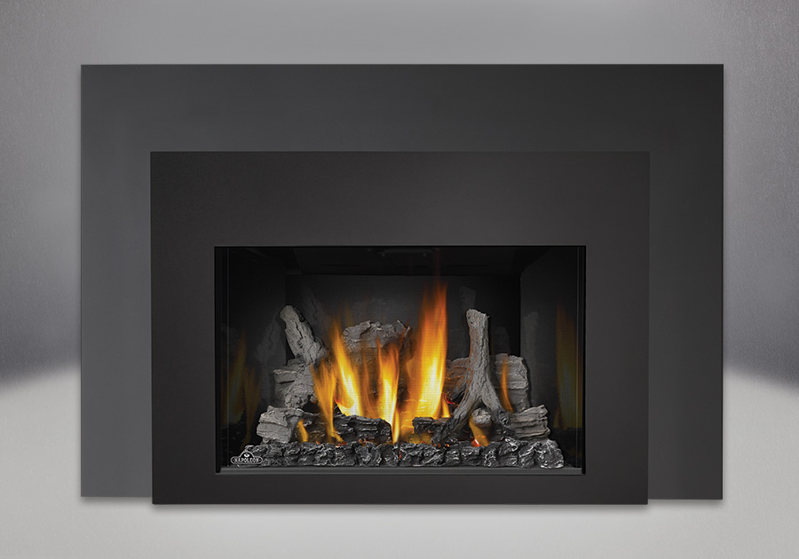 IRONWOOD<sup>™</sup> Log Set, MIRRO-FLAME<sup>™</sup> Porcelain Reflective Radiant Panels, Contemporary Front in Black, One Piece Surround Painted Black Finish 9″