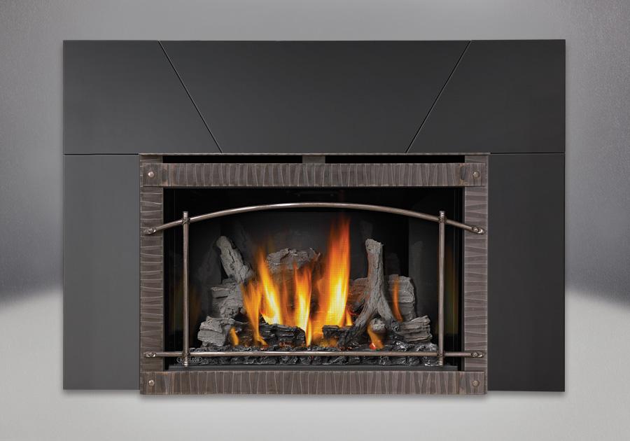 IRONWOOD<sup>™</sup> Log Set, MIRRO-FLAME<sup>™</sup> Porcelain Reflective Radiant Panels, Premium Scalloped Artisan Steel Door, Five Piece Surround Painted Black Finish 9″