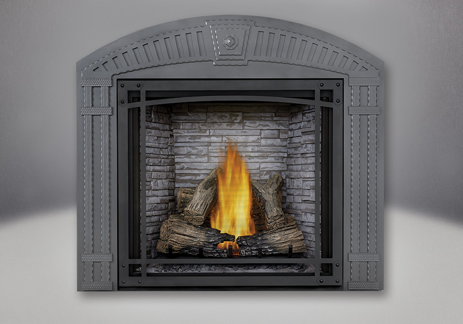 TALL FLAME PHAZER<sup>®</sup> Log Set, Custom Blend LEDGEROCK, Decorative Front, Arched Surround