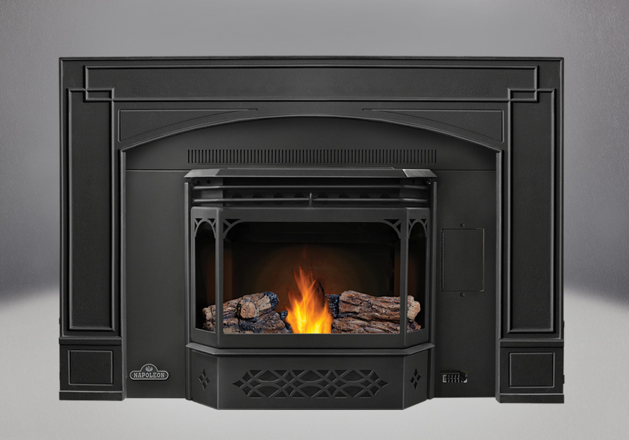 PHAZER<sup>®</sup> Logs, MIRRO-FLAME<sup>™</sup> Porcelain Reflective Radiant Panels, 8″ Black Flashing with Trim, Arched Cast Iron Surround, Black Door and Trivet
