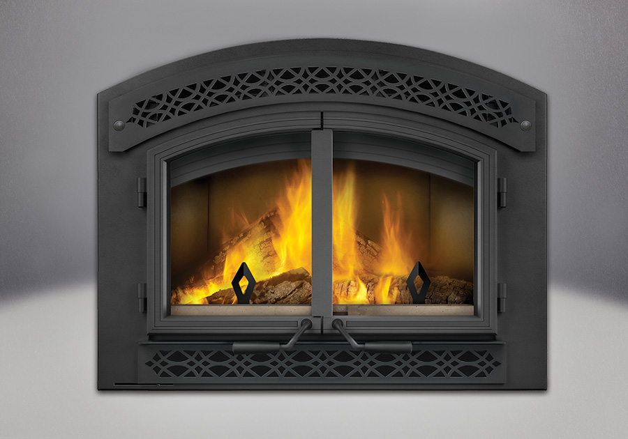 Arched Faceplate with Heritage Inset and Black Cast Iron Double Doors - Napoleon High Country 3000 Eco Wood Fireplace NZ3000H