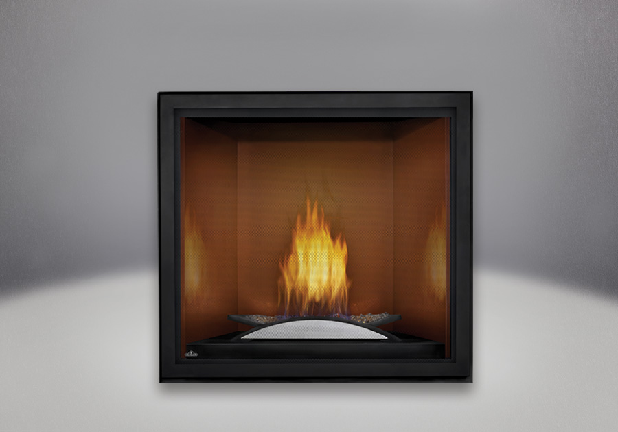 Fire Cradle, Cappuccino MIRRO-FLAME<sup>™</sup> Porcelain Reflective Radiant Panels, Standard Safety Screen