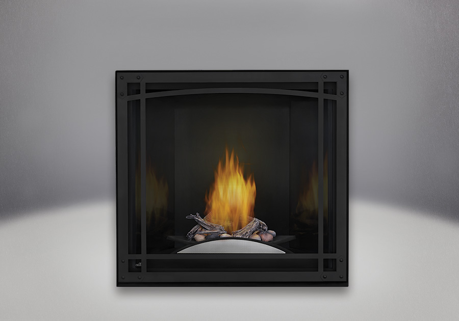 Fire Cradle with Driftwood Log and Rock Media enhancement kit, Black MIRRO-FLAME<sup>™</sup> Porcelain Reflective Radiant Panels, Decorative Front, Standard Safety Screen