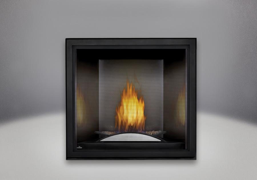Fire Cradle, Platinum MIRRO-FLAME<sup>™</sup> Porcelain Reflective Radiant Panels, Standard Safety Screen