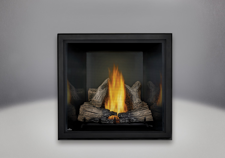 PHAZER<sup>®</sup> Log Set, Black MIRRO-FLAME<sup>™</sup> Porcelain Reflective Radiant Panels, Standard Safety Screen