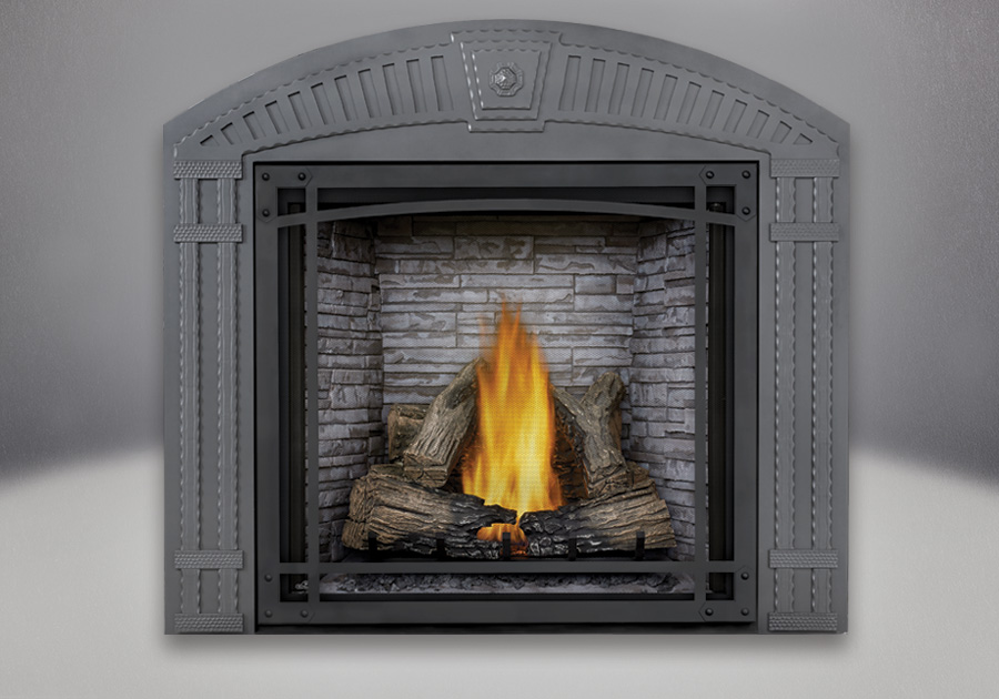 PHAZER<sup>®</sup> Log Set, Antique White LEDGEROCK Decorative Brick Panels, Decorative Arched Surround, Decorative Front, Standard Safety Screen