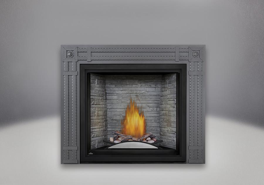 Fire Cradle with Driftwood Log and Rock Media enhancement kit, Antique White LEDGEROCK