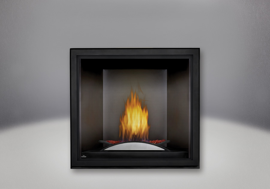 Fire Cradle with Red Glass Media, Platinum MIRRO-FLAME<sup>™</sup> Porcelain Reflective Radiant Panels